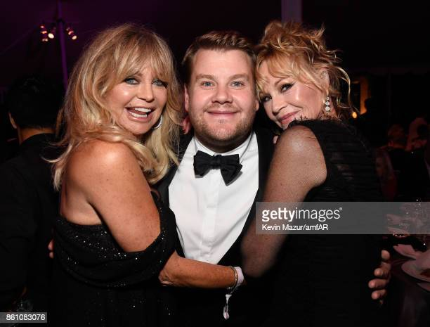 Actors Goldie Hawn James Corden and Melanie Griffith attend the amfAR Gala Los Angeles 2017 at Ron Burkle's Green Acres Estate on October 13 2017 in...