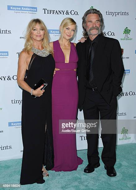 Actors Goldie Hawn Kate Hudson and Kurt Russell arrive at the 2014 Baby2Baby Gala presented by Tiffany Co honoring Kate Hudson at The Book Bindery on...