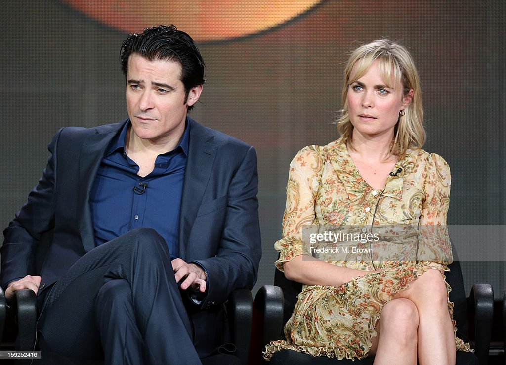 Actors Goran Visnjic and Radha Mitchell of 'Red Widow' speak onstage during the ABC portion of the 2013 Winter TCA Tour at Langham Hotel on January 10, 2013 in Pasadena, California.