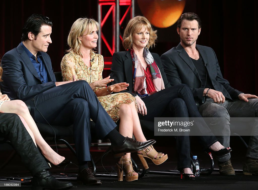 Actors Goran Visnjic, Radha Mitchell, Executive Producer Melissa Rosenberg and actor Wil Traval of 'Red Widow' speak onstage during the ABC portion of the 2013 Winter TCA Tour at Langham Hotel on January 10, 2013 in Pasadena, California.