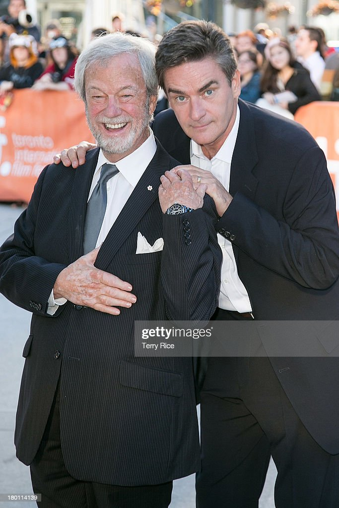 Actors <a gi-track='captionPersonalityLinkClicked' href=/galleries/search?phrase=Gordon+Pinsent&family=editorial&specificpeople=3108972 ng-click='$event.stopPropagation()'>Gordon Pinsent</a> (L) and Peter Keleghan attend 'The Grand Seduction' premiere during the 2013 Toronto International Film Festival at Roy Thomson Hall on September 8, 2013 in Toronto, Canada.