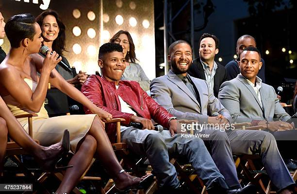Actors Grace Gealey Bryshere 'Yazz' Gray Jussie Smollett and Trai Byers appear onstage at the Television Academy event for Fox Tv's 'Empire' A...