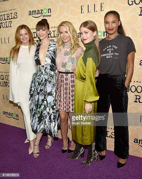 Actors Grace Gummer Erin Darke Anna Camp Genevieve Angelson and Joy Bryant attend the Amazon red carpet premiere screening of the original drama...