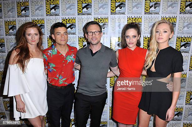 Actors Grace Gummer Rami Malek Christian Slater Carly Chaikin and Portia Doubleday attend 'Mr Robot' Press Line during ComicCon International 2016 at...