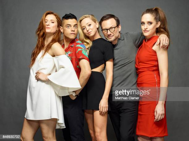 Actors Grace Gummer Rami Malek Portia Doubleday Christian Slater and Carly Chaikin from 'Mr Robot' are photographed for Entertainment Weekly Magazine...