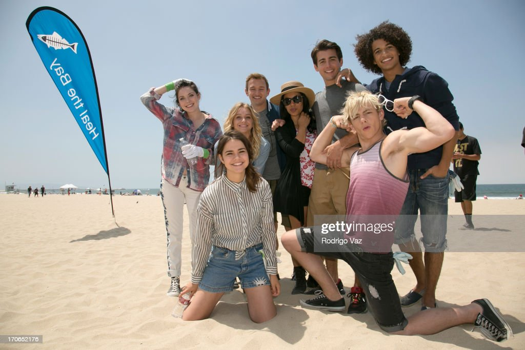 Actors Grace Phipps, <a gi-track='captionPersonalityLinkClicked' href=/galleries/search?phrase=Maia+Mitchell&family=editorial&specificpeople=9453855 ng-click='$event.stopPropagation()'>Maia Mitchell</a>, Mollee Gray Kent Boyd, Chrissie Fit, <a gi-track='captionPersonalityLinkClicked' href=/galleries/search?phrase=Ross+Lynch&family=editorial&specificpeople=4814597 ng-click='$event.stopPropagation()'>Ross Lynch</a>, John deLuca and Jordan Fisher, stars of Disney's 'Teen Beach Movie' joins Heal The Bay for beach clean up on June 15, 2013 in Venice, California.