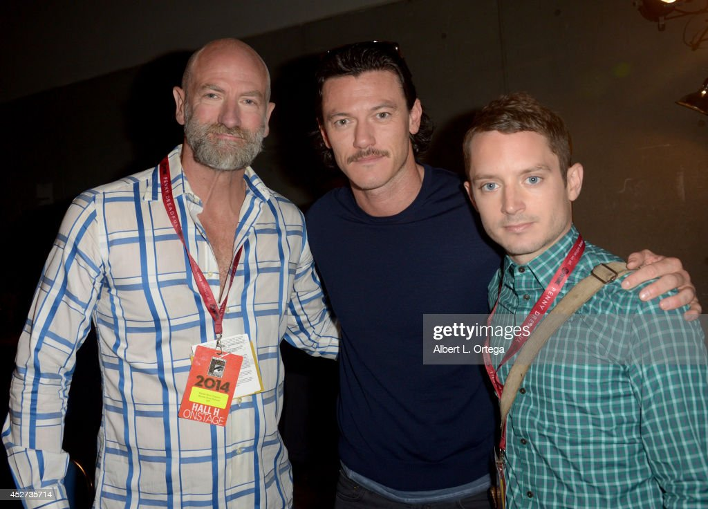 Actors <a gi-track='captionPersonalityLinkClicked' href=/galleries/search?phrase=Graham+McTavish&family=editorial&specificpeople=4509837 ng-click='$event.stopPropagation()'>Graham McTavish</a>, Luke Evans and <a gi-track='captionPersonalityLinkClicked' href=/galleries/search?phrase=Elijah+Wood&family=editorial&specificpeople=171364 ng-click='$event.stopPropagation()'>Elijah Wood</a> attend the Legendary Pictures preview and panel during Comic-Con International 2014 at San Diego Convention Center on July 26, 2014 in San Diego, California.