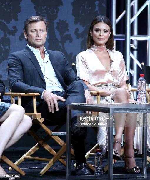 Actors Grant Show and Nathalie Kelley of 'Dynasty' speak onstage during the CW portion of the 2017 Summer Television Critics Association Press Tour...