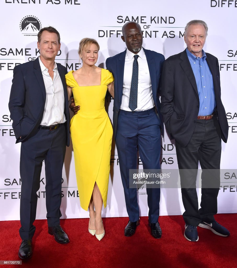 Actors Greg Kinnear, Renee Zellweger, Djimon Hounsou and Jon Voight arrive at the premiere of 'Same Kind of Different as Me' at Westwood Village Theatre on October 12, 2017 in Westwood, California.