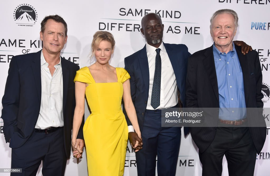 Actors Greg Kinnear, Renee Zellweger, Djimon Hounsou and Jon Voigt attend the premiere of Paramount Pictures and Pure Film Entertainment's 'Same Kind Of Different As Me' at Westwood Village Theatre on October 12, 2017 in Westwood, California.