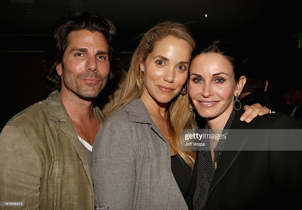 Actors <a gi-track='captionPersonalityLinkClicked' href=/galleries/search?phrase=Greg+Lauren+-+Artist+and+Designer&family=editorial&specificpeople=601364 ng-click='$event.stopPropagation()'>Greg Lauren</a>, Elizabeth Berkley, and <a gi-track='captionPersonalityLinkClicked' href=/galleries/search?phrase=Courteney+Cox&family=editorial&specificpeople=203101 ng-click='$event.stopPropagation()'>Courteney Cox</a> attend SELF Magazine and Jennifer Aniston's celebration of Mandy Ingber's new book 'Yogalosophy: 28 Days to the Ultimate Mind-Body Makeover' (Seal Press) on April 30, 2013 in Los Angeles, California.