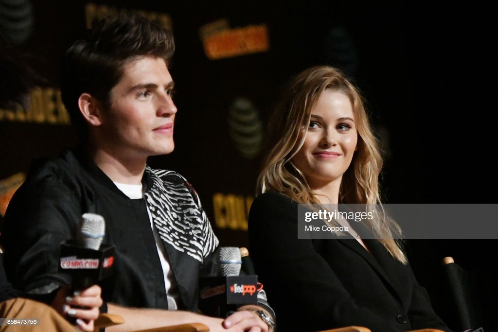 Actors Gregg Sulkin and Virginia Gardner participate in Hulu's Runaways panel at New York Comic Con at Jacob Javits Center on October 6, 2017 in New York City.