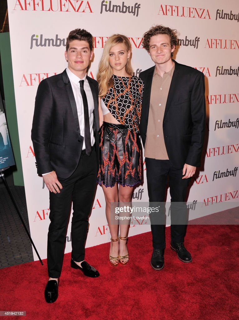 Actors <a gi-track='captionPersonalityLinkClicked' href=/galleries/search?phrase=Gregg+Sulkin&family=editorial&specificpeople=3970071 ng-click='$event.stopPropagation()'>Gregg Sulkin</a>, <a gi-track='captionPersonalityLinkClicked' href=/galleries/search?phrase=Nicola+Peltz&family=editorial&specificpeople=5306904 ng-click='$event.stopPropagation()'>Nicola Peltz</a>, and <a gi-track='captionPersonalityLinkClicked' href=/galleries/search?phrase=Ben+Rosenfield&family=editorial&specificpeople=7833106 ng-click='$event.stopPropagation()'>Ben Rosenfield</a> attend the 'Affluenza' premiere at SVA Theater on July 9, 2014 in New York City.