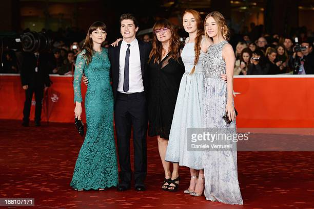 Actors Gregg SulkinLeonor Watling with director Isabel Coixet and actresses Sophie TurnerCharlotte Vega attend 'Another Me' Premiere during The 8th...
