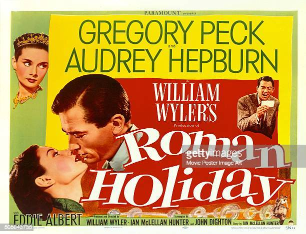 Actors Gregory Peck and Audrey Hepburn feature on a poster for the Paramount Pictures movie 'Roman Holiday' directed by William Wyler 1953