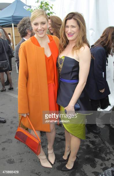 Actors Greta Gerwig and Kathryn Hahn attend the 2014 Film Independent Spirit Awards at Santa Monica Beach on March 1 2014 in Santa Monica California