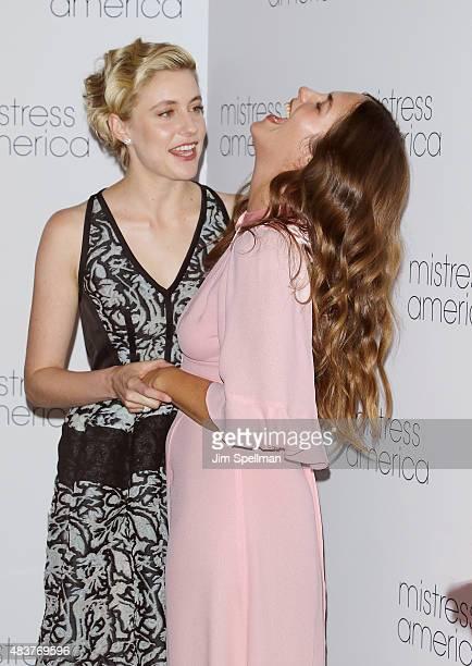 Actors Greta Gerwig and Lola Kirke attend the 'Mistress America' New York premiere at Landmark Sunshine Cinema on August 12 2015 in New York City
