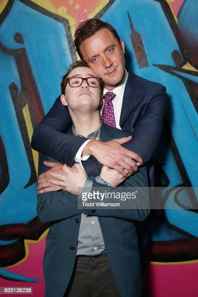 Actors Griffin Newman and Peter Serafinowicz attend the blue carpet premiere of Amazon Prime Video original series 'The Tick' at Village East Cinema...