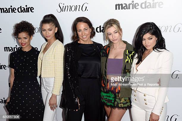 Actors Gugu MbathaRaw Zendaya EditorinChief Marie Claire Anne Fulenwider model Hailey Baldwin and tv personality Kylie Jenner attend the 'Fresh...