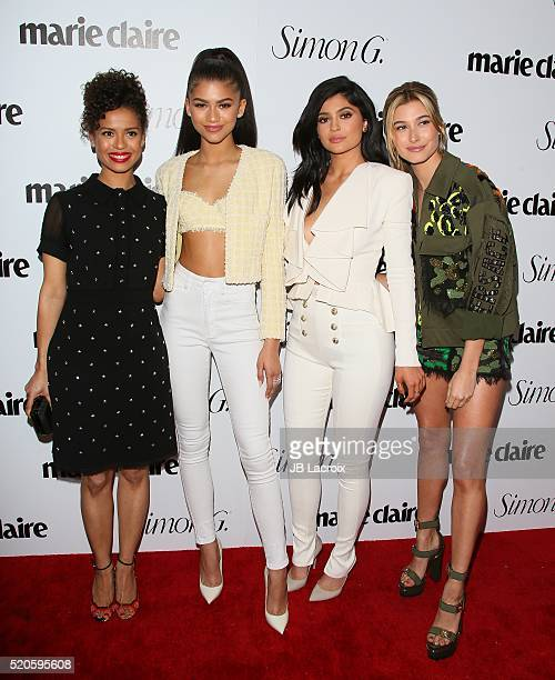 Actors Gugu MbathaRaw Zendaya tv personality Kylie Jenner and model Hailey Baldwin attend the 'Fresh Faces' party hosted by Marie Claire celebrating...