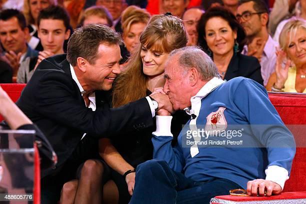 Actors Guillaume de Tonquedec Noemie Schmidt and Claude Brasseur present the movie 'L'etudiante et Monsieur Henri' during the 'Vivement Dimanche'...