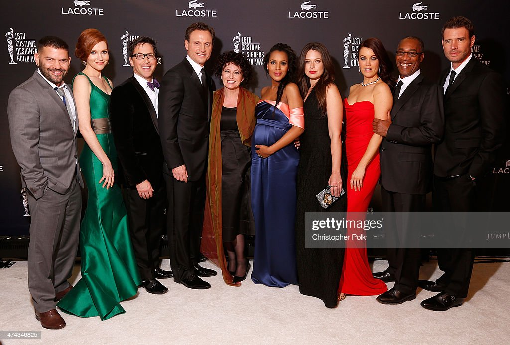 Actors Guillermo Diaz, Darby Stanchfield, Dan Bucatinsky, Tony Goldwyn, costume designer Lyn Paolo and actors Kerry Washington, Katie Lowes, Bellamy Young, Joe Morton and Scott Foley attend the 16th Costume Designers Guild Awards with presenting sponsor Lacoste at The Beverly Hilton Hotel on February 22, 2014 in Beverly Hills, California.