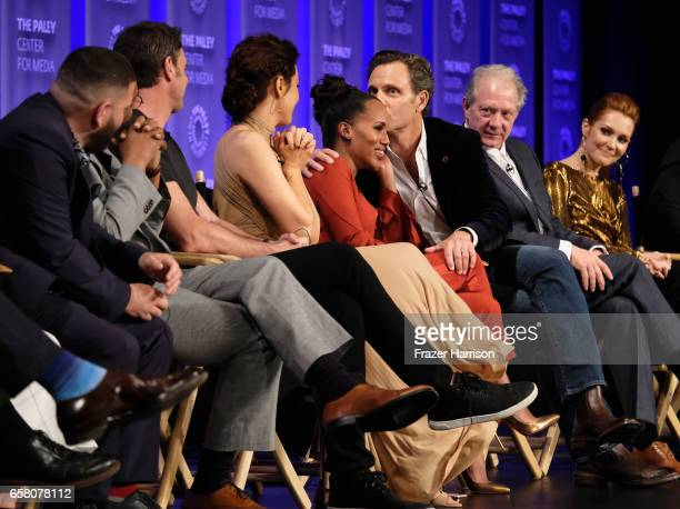 Actors Guillermo Diaz Joe Morton Scott Foley Bellamy Young Kerry Washington Tony Goldwyn Jeff Perry Darby Stanchfield on stage for the 'Scandal'...