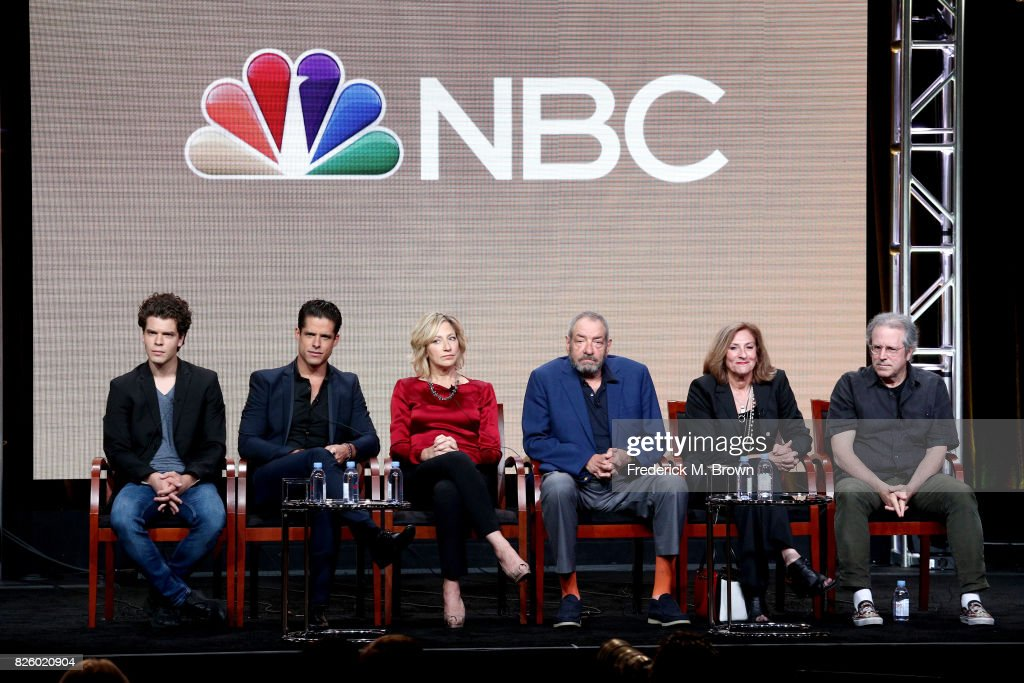 Actors Gus Halper, Miles Gaston Villanueva, Edie Falco, executive producer/creator Dick Wolf, executive producer/director Lesli Linka Glatter, executive producer/showrunner Rene Balcer of 'Law & Order True Crime: The Menendez Murders' speak onstage during the NBCUniversal portion of the 2017 Summer Television Critics Association Press Tour at The Beverly Hilton Hotel on August 3, 2017 in Beverly Hills, California.