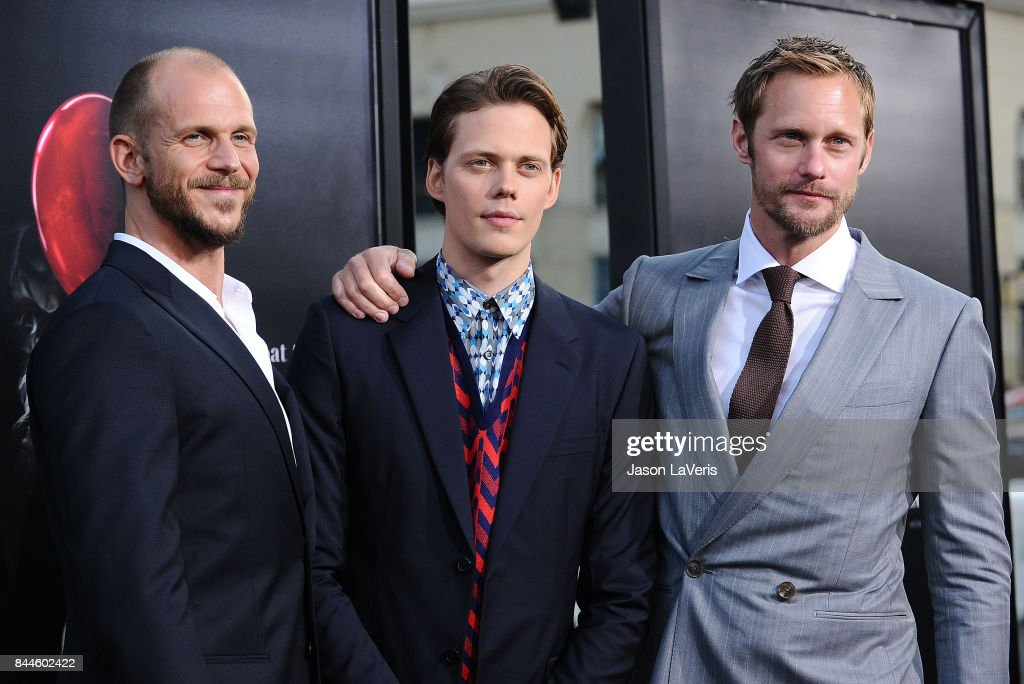 Actors Gustaf Skarsgard, Bill Skarsgard and Alexander Skarsgard attend the premiere of 'It' at TCL Chinese Theatre on September 5, 2017 in Hollywood, California.