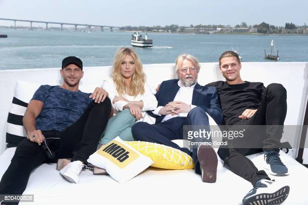 Actors Gustaf Skarsgard Katheryn Winnic writer/producer Michael Hirst and actor Alex Hogh Anderson on the #IMDboat at San Diego ComicCon 2017 on the...