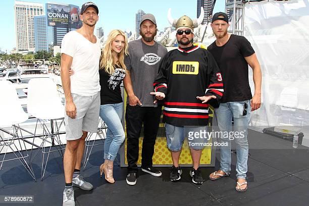 Actors Gustaf Skarsgard Katheryn WinnickTravis Fimmel host Kevin Smith and Alexander Ludwig of Vikings attend the IMDb Yacht at San Diego ComicCon...