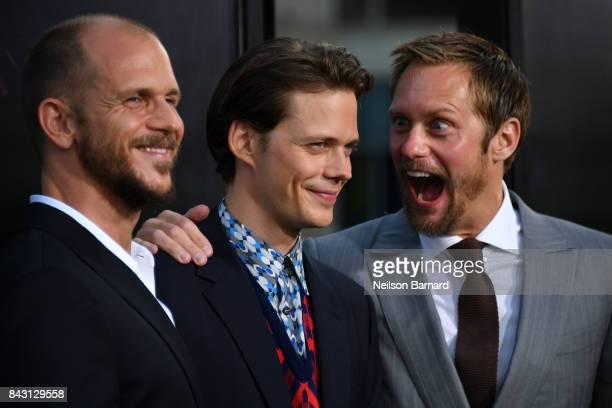 Actors Gustav Skarsgard Bill Skarsgard and Alexander Skarsgard attend the premiere of Warner Bros Pictures and New Line Cinema's 'It' at the TCL...