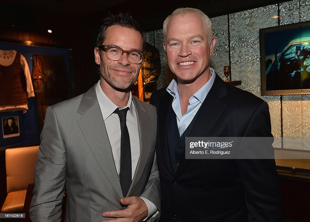 Actors <a gi-track='captionPersonalityLinkClicked' href=/galleries/search?phrase=Guy+Pearce&family=editorial&specificpeople=217261 ng-click='$event.stopPropagation()'>Guy Pearce</a> and <a gi-track='captionPersonalityLinkClicked' href=/galleries/search?phrase=Neal+McDonough&family=editorial&specificpeople=213199 ng-click='$event.stopPropagation()'>Neal McDonough</a> attend Marvel's Iron Man 3 Premiere after party at Hard Rock Cafe on April 24, 2013 in Hollywood, California.