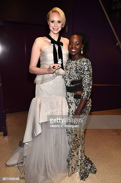 """Actors Gwendoline Christie and Lupita Nyong'o attend the World Premiere of """"Star Wars The Force Awakens"""" at the Dolby El Capitan and TCL Theatres on..."""