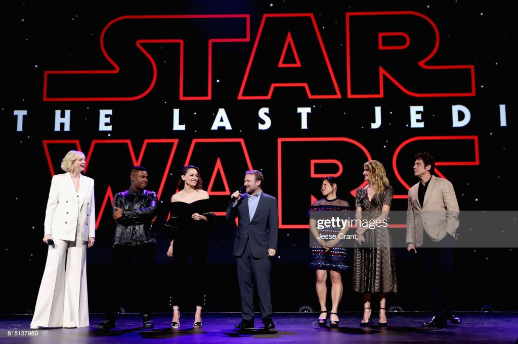 Actors Gwendoline Christie, John Boyega, Daisy Ridley, Director Rian Johnson, actors Kelly Marie Tran, Laura Dern and Benicio del Toro of