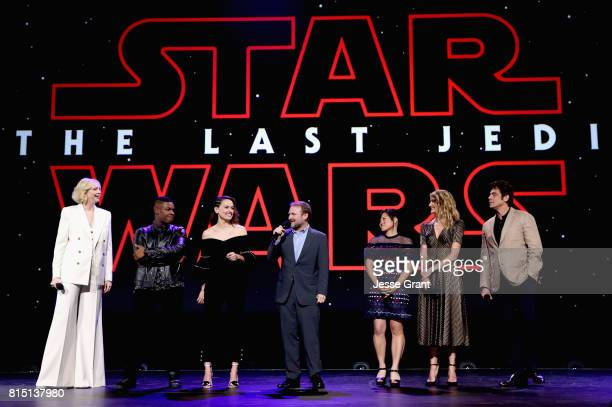 Actors Gwendoline Christie John Boyega Daisy Ridley Director Rian Johnson actors Kelly Marie Tran Laura Dern and Benicio del Toro of STAR WARS THE...