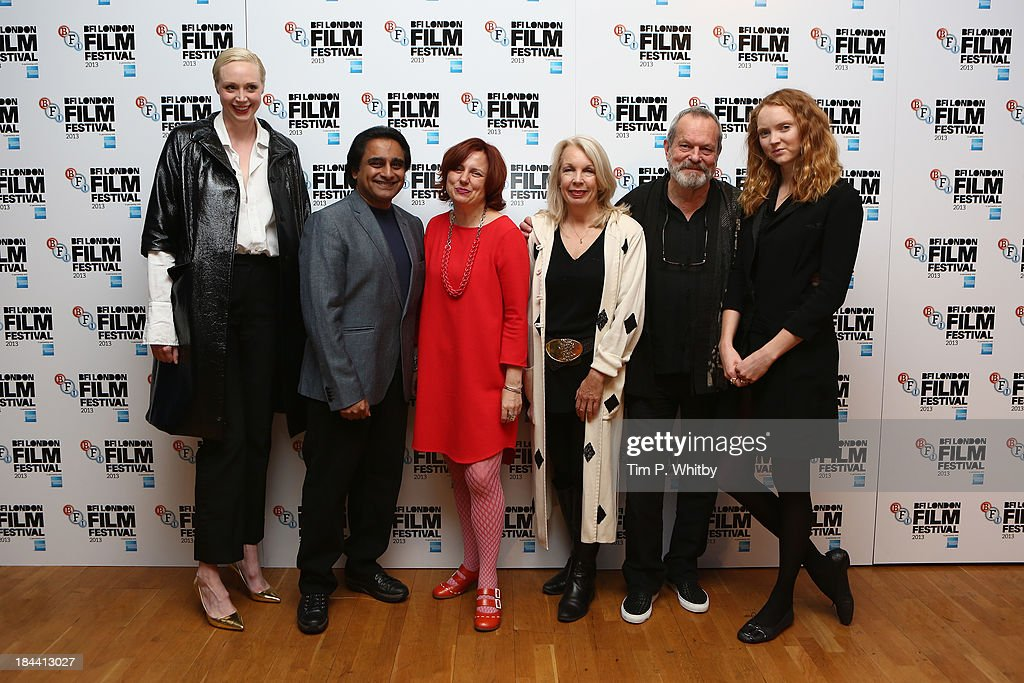 Actors <a gi-track='captionPersonalityLinkClicked' href=/galleries/search?phrase=Gwendoline+Christie&family=editorial&specificpeople=6341361 ng-click='$event.stopPropagation()'>Gwendoline Christie</a>, <a gi-track='captionPersonalityLinkClicked' href=/galleries/search?phrase=Sanjeev+Bhaskar&family=editorial&specificpeople=703950 ng-click='$event.stopPropagation()'>Sanjeev Bhaskar</a>, BFI Head of Cinema and Festivals Clare Stewart, BFI CEO Amanda Nevill, director <a gi-track='captionPersonalityLinkClicked' href=/galleries/search?phrase=Terry+Gilliam&family=editorial&specificpeople=221636 ng-click='$event.stopPropagation()'>Terry Gilliam</a> and model <a gi-track='captionPersonalityLinkClicked' href=/galleries/search?phrase=Lily+Cole&family=editorial&specificpeople=206320 ng-click='$event.stopPropagation()'>Lily Cole</a> attend a screening of 'Zero Theorem' during the 57th BFI London Film Festival at Odeon West End on October 13, 2013 in London, England.