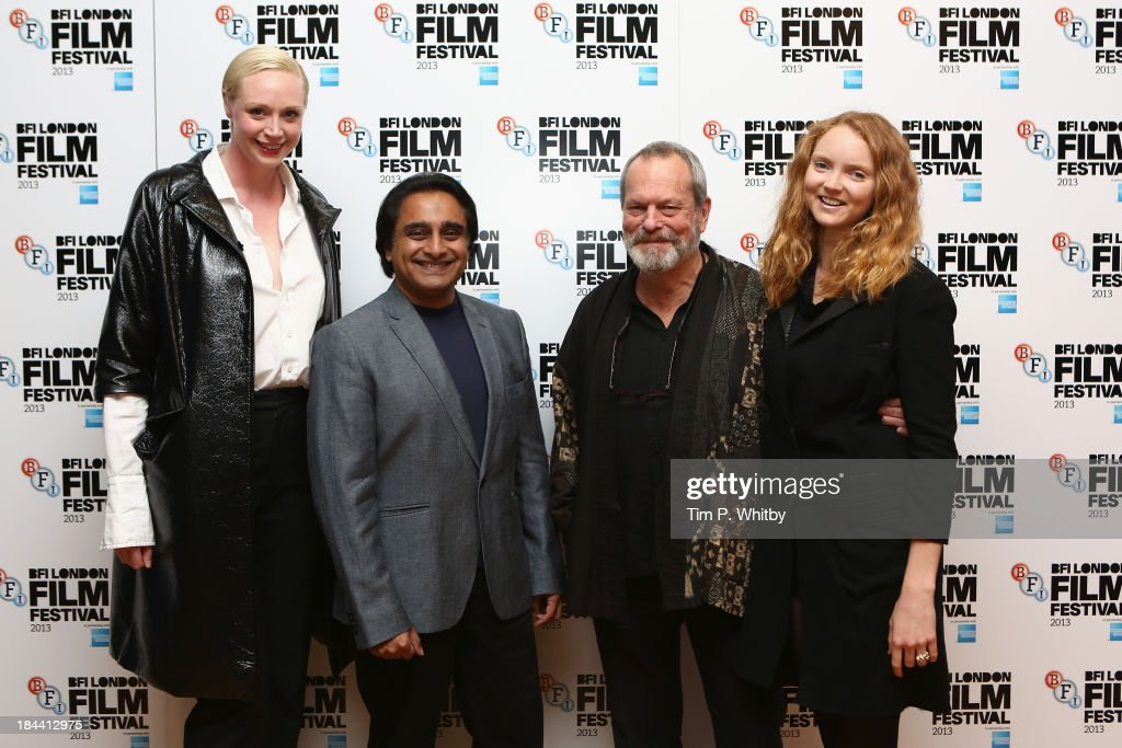 Actors <a gi-track='captionPersonalityLinkClicked' href=/galleries/search?phrase=Gwendoline+Christie&family=editorial&specificpeople=6341361 ng-click='$event.stopPropagation()'>Gwendoline Christie</a>, <a gi-track='captionPersonalityLinkClicked' href=/galleries/search?phrase=Sanjeev+Bhaskar&family=editorial&specificpeople=703950 ng-click='$event.stopPropagation()'>Sanjeev Bhaskar</a>, director <a gi-track='captionPersonalityLinkClicked' href=/galleries/search?phrase=Terry+Gilliam&family=editorial&specificpeople=221636 ng-click='$event.stopPropagation()'>Terry Gilliam</a> and model <a gi-track='captionPersonalityLinkClicked' href=/galleries/search?phrase=Lily+Cole&family=editorial&specificpeople=206320 ng-click='$event.stopPropagation()'>Lily Cole</a> attend a screening of 'Zero Theorem' during the 57th BFI London Film Festival at Odeon West End on October 13, 2013 in London, England.