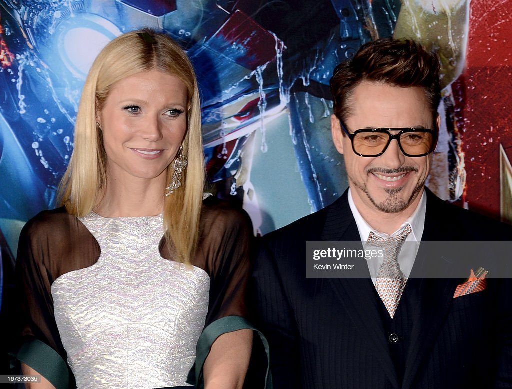 Actors <a gi-track='captionPersonalityLinkClicked' href=/galleries/search?phrase=Gwyneth+Paltrow&family=editorial&specificpeople=171431 ng-click='$event.stopPropagation()'>Gwyneth Paltrow</a> (L) and <a gi-track='captionPersonalityLinkClicked' href=/galleries/search?phrase=Robert+Downey+Jr.&family=editorial&specificpeople=204137 ng-click='$event.stopPropagation()'>Robert Downey Jr.</a> arrive at the premiere of Walt Disney Pictures' 'Iron Man 3' at the El Capitan Theatre on April 24, 2013 in Hollywood, California.
