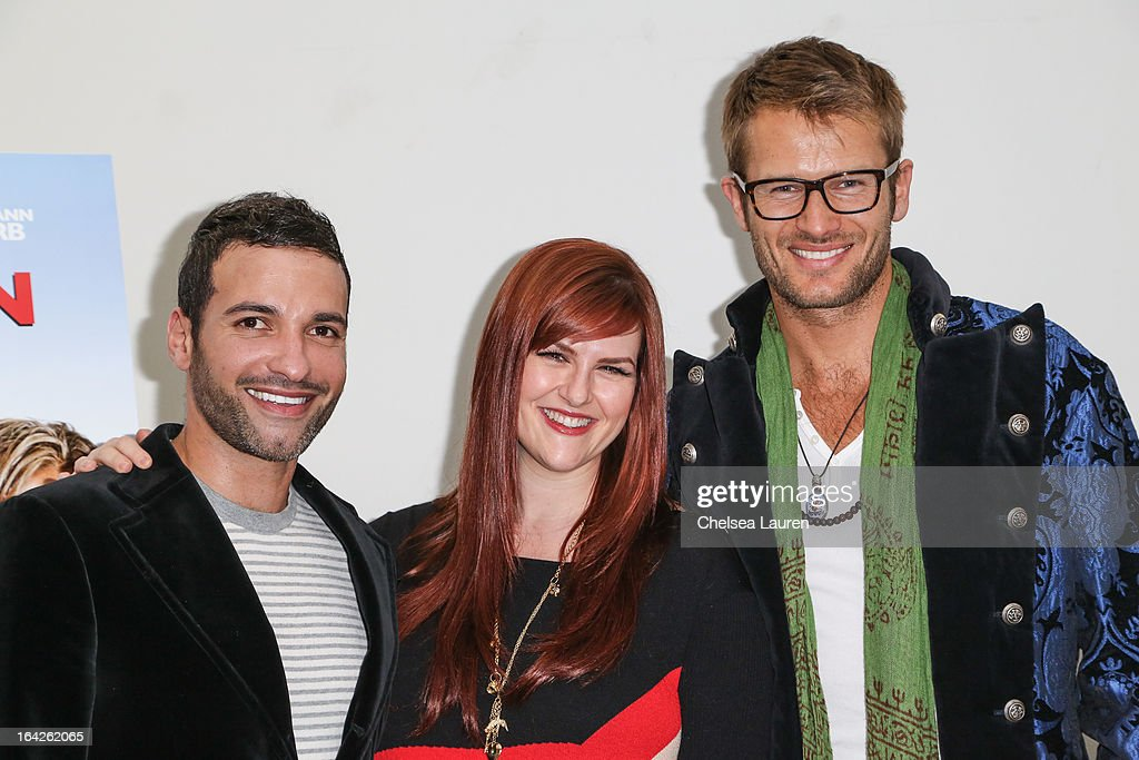 Actors <a gi-track='captionPersonalityLinkClicked' href=/galleries/search?phrase=Haaz+Sleiman&family=editorial&specificpeople=5510632 ng-click='$event.stopPropagation()'>Haaz Sleiman</a>, <a gi-track='captionPersonalityLinkClicked' href=/galleries/search?phrase=Sara+Rue&family=editorial&specificpeople=203287 ng-click='$event.stopPropagation()'>Sara Rue</a> and Johann Urb arrive at the 'Dorfman in Love' premiere at Downtown Independent Theatre on March 21, 2013 in Los Angeles, California.