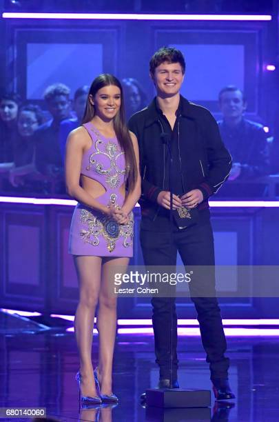 Actors Hailee Steinfeld and Ansel Elgort speak onstage during the 2017 MTV Movie And TV Awards at The Shrine Auditorium on May 7 2017 in Los Angeles...