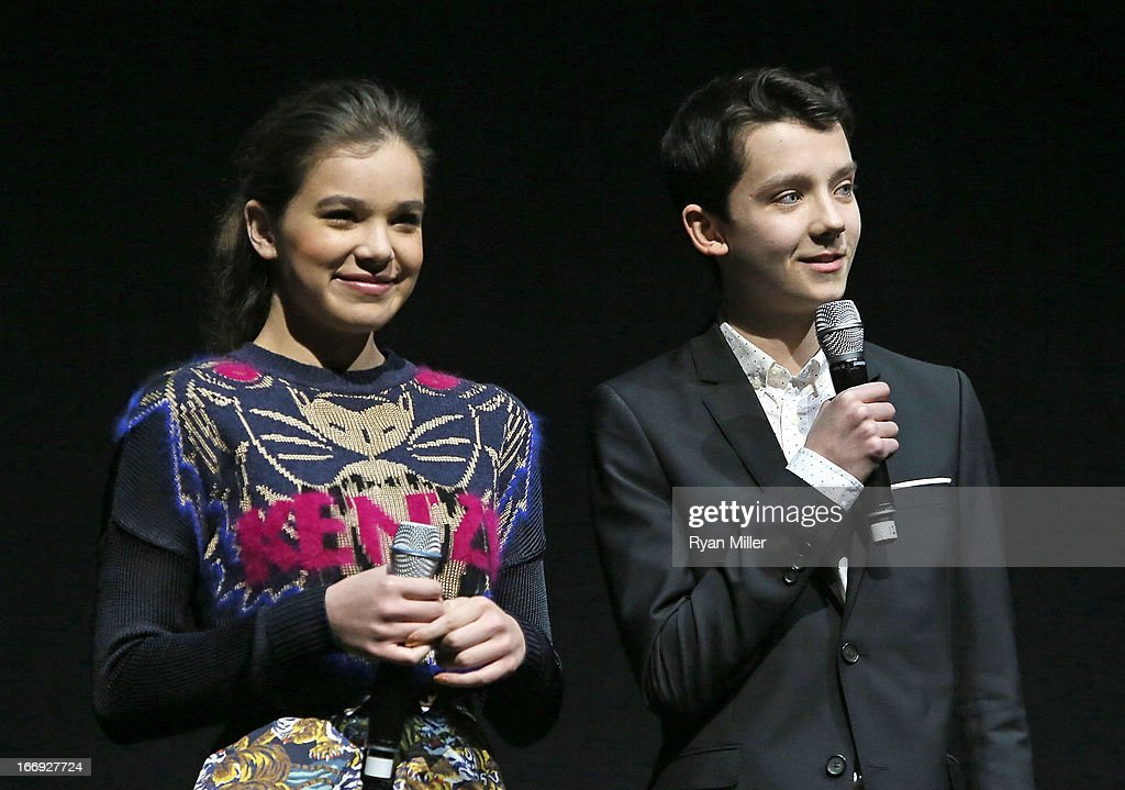 Actors Hailee Steinfeld (L) and Asa Butterfield speak onstage during the Lionsgate CinemaCon Press Conference Invitational : An Exclusive Product Presentation Highlighting Its 2013 Release Schedule at Caesars Palace during CinemaCon, the official convention of the National Association of Theatre Owners on April 18, 2013 in Las Vegas, Nevada.