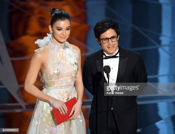 Actors Hailee Steinfeld and Gael Garcia Bernal speak onstage during the 89th Annual Academy Awards at Hollywood Highland Center on February 26 2017...