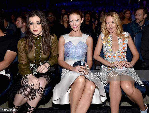Actors Hailee Steinfeld Bridget Regan and Anna Camp attend The 2015 MTV Movie Awards at Nokia Theatre LA Live on April 12 2015 in Los Angeles...