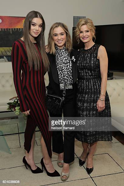 Actors Hailee Steinfeld Haley Lu Richardson and Kyra Sedgwick attend 'A Conversation On Trailblazers Women In The Workplace with Ariana Huffington...