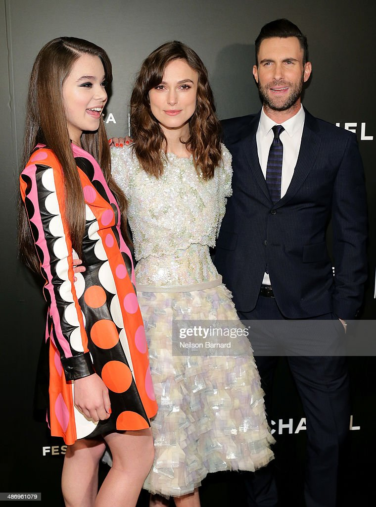 "Actors Hailee Steinfeld, Keira Knightley, and musician Adam Levine attend the 2014 Tribeca Film Festival closing night film ""Begin Again"" hosted by CHANEL at BMCC Tribeca PAC on April 26, 2014 in New York City."