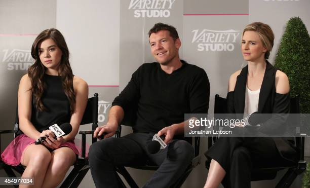 Actors Hailee Steinfeld Sam Worthington and Brit Marling attend the Variety Studio presented by Moroccanoil at Holt Renfrew during the 2014 Toronto...