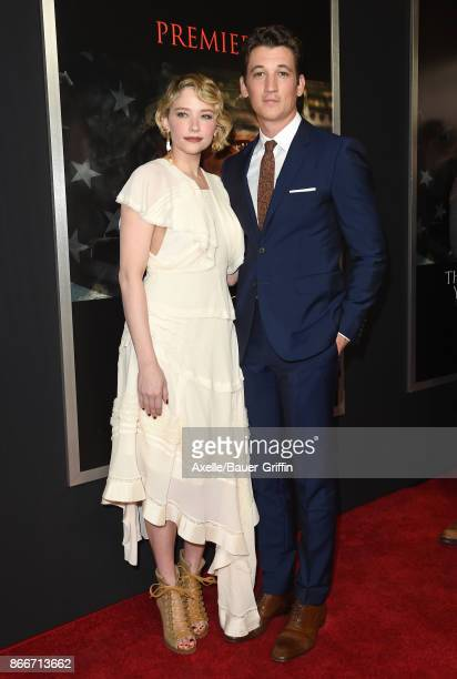 Actors Haley Bennett and Miles Teller arrive at the premiere of DreamWorks Pictures and Universal Pictures' 'Thank You for Your Service' at Regal LA...