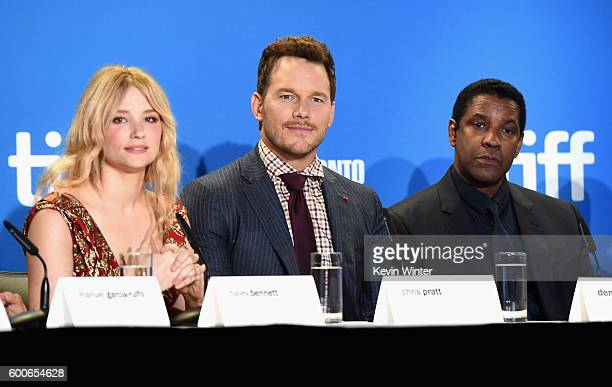 Actors Haley Bennett Chris Pratt and Denzel Washington speak at 'The Magnificent Seven' press conference during the 2016 Toronto International Film...