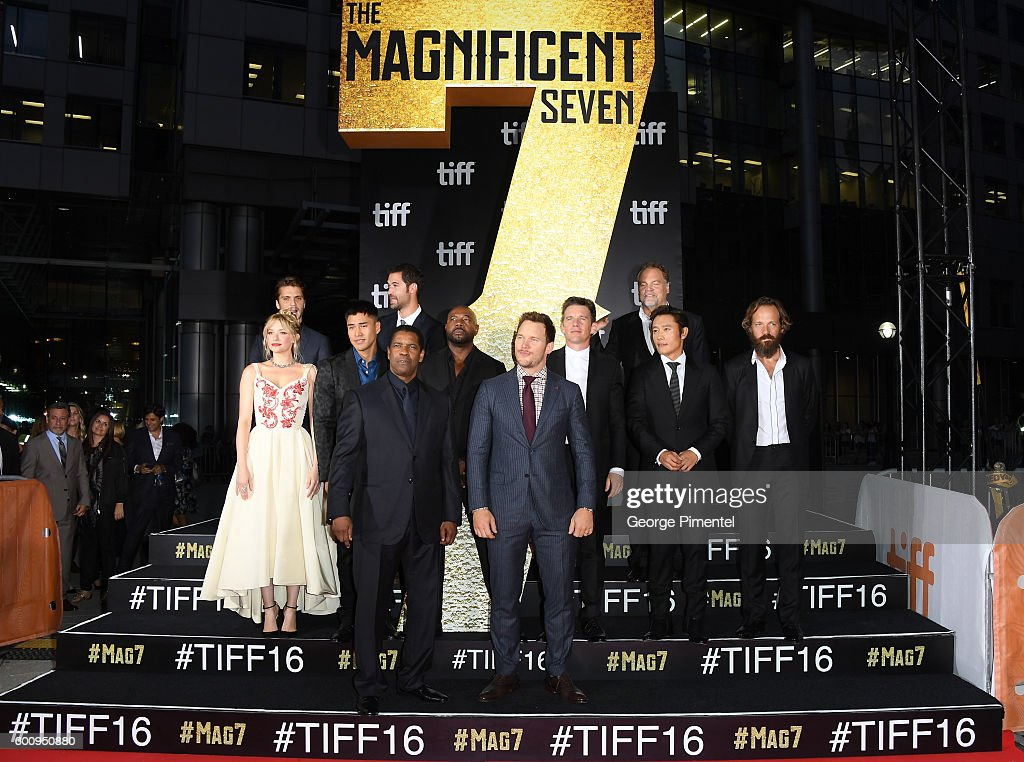 Actors Haley Bennett, Luke Grimes, Martin Sensmeier, Manuel Garcia-Rulfo, Denzel Washington, Director Antoine Fuqua, actors Chris Pratt, Ethan Hawke, Vincent D'Onofrio, Byung-hun Lee and Peter Sarsgaard attend 'The Magnificent Seven' premiere during the 2016 Toronto International Film Festival at Roy Thomson Hall on September 8, 2016 in Toronto, Canada.
